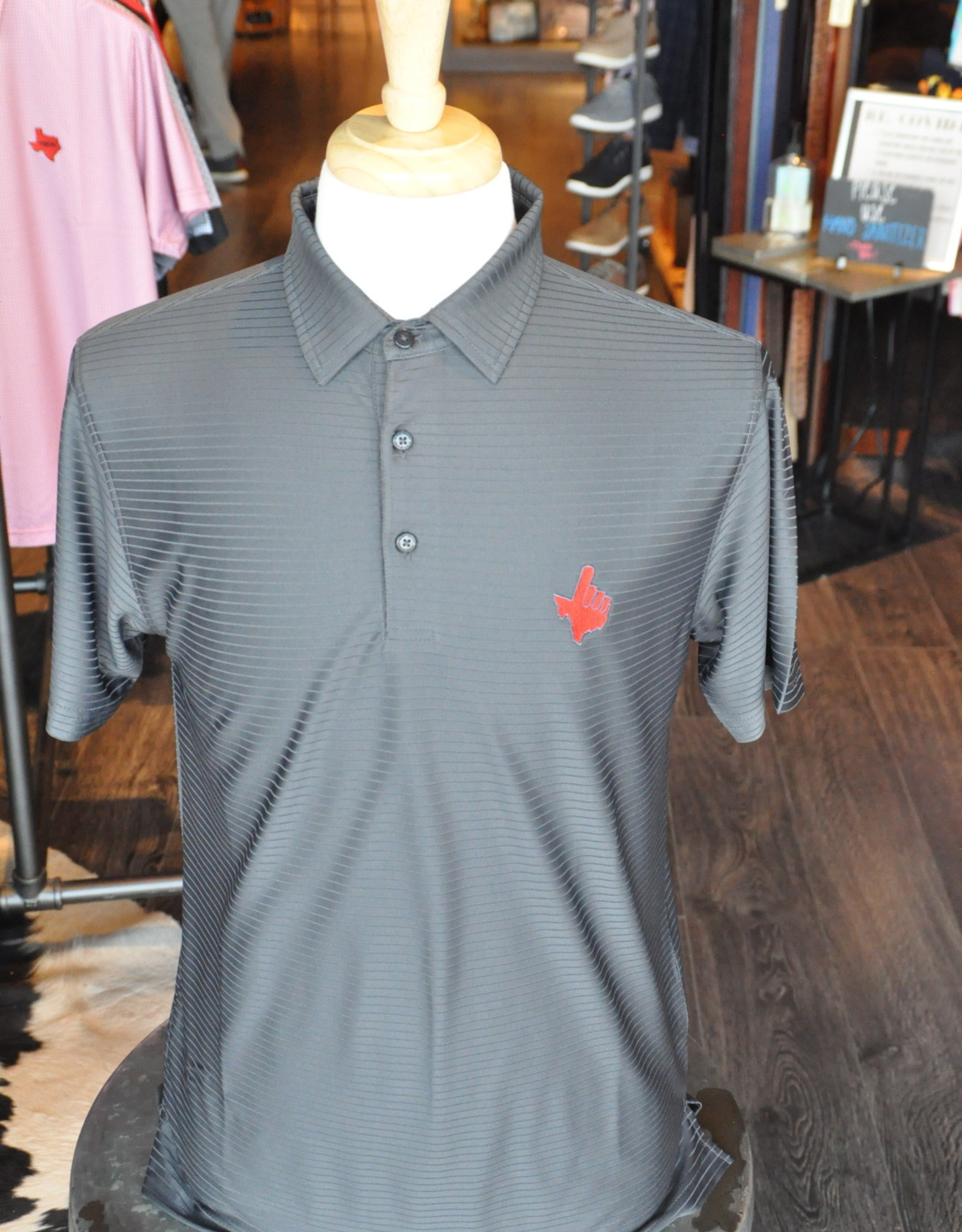 Stag GameDay Charcoal Tonal Stripe Polo- Texas Hand
