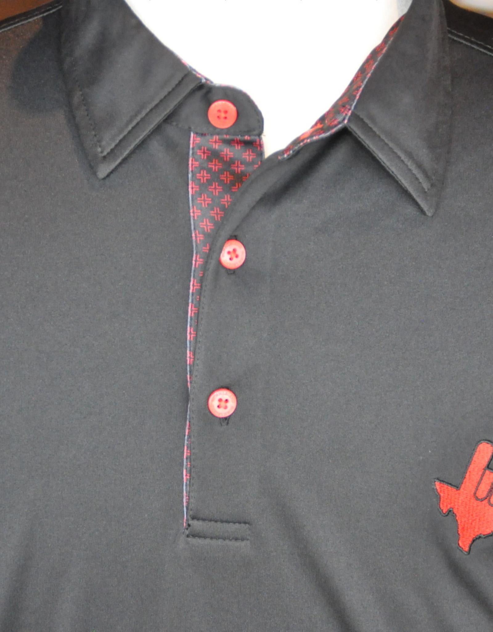 Stag GameDay Black Bullseye Trim Polo- Texas Hand