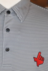 Stag GameDay Grey 1/8 Stripe Bamboo Polo- Texas Hand