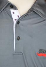Stag GameDay Black Birdseye Double T Trim Polo- Mustache