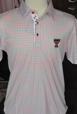 Stag GameDay Black/Red Windowpane Mustache Trim Polo- Double T