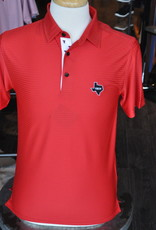 Stag GameDay Red Tonal Stripe Double T Trim Polo- Texas State