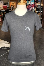 Stag GameDay Dark Heather Grey Crew Neck Shirt- Cross Guns