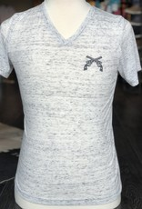 Stag GameDay White Marble V-Neck Shirt- Cross Guns
