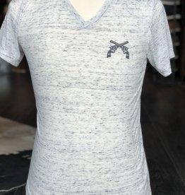 Stag GameDay White Marble V-Neck Shirt- Cross Guns