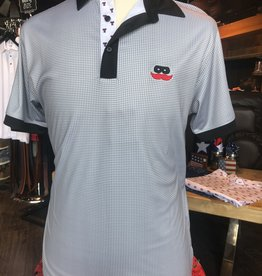 Stag GameDay Grey Gingham Black/Double T Trim Polo- Mustache