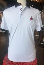 Stag GameDay White Black/Double T Trim Polo- Texas Hand