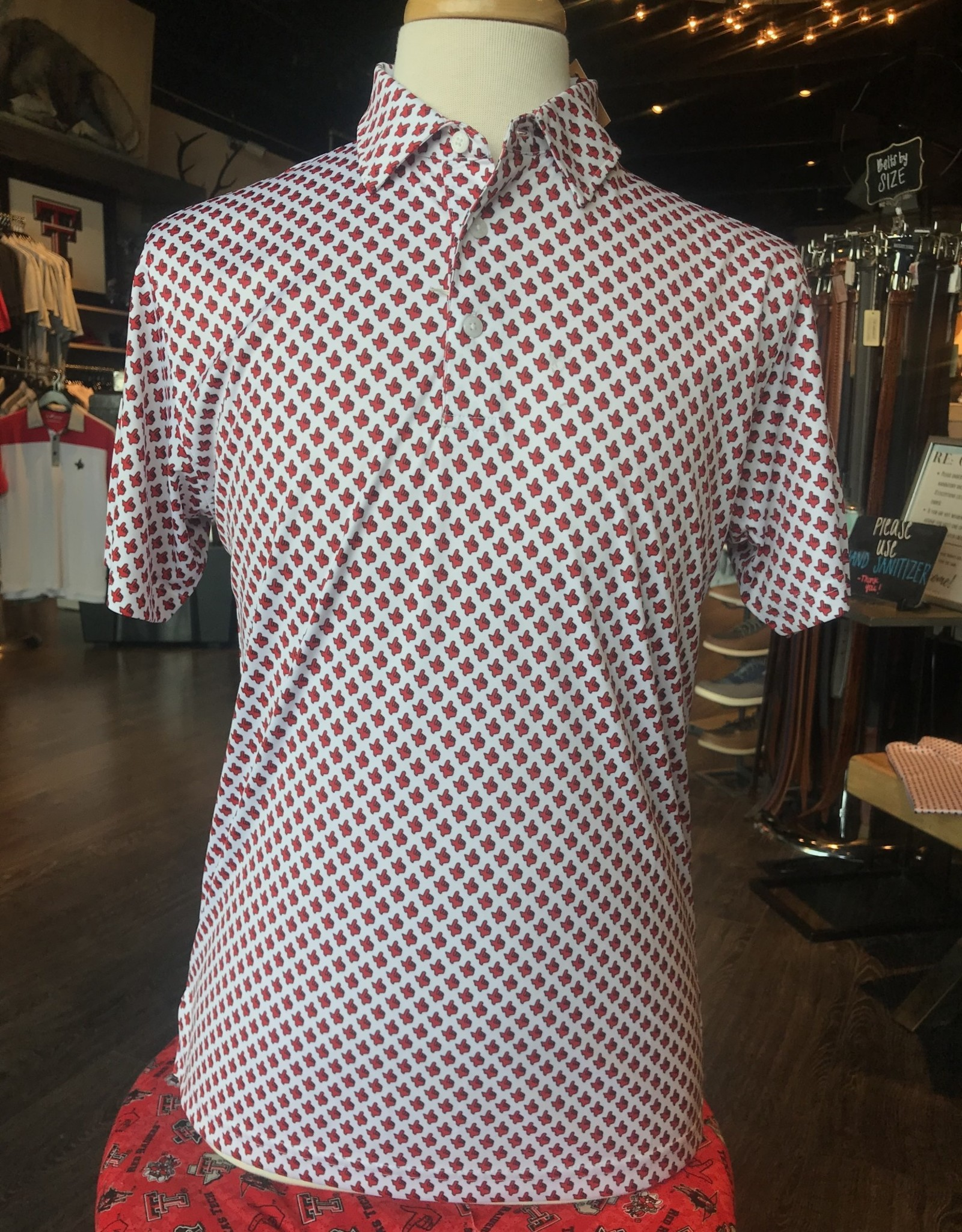 Stag GameDay Texas Hand All Over Print Polo