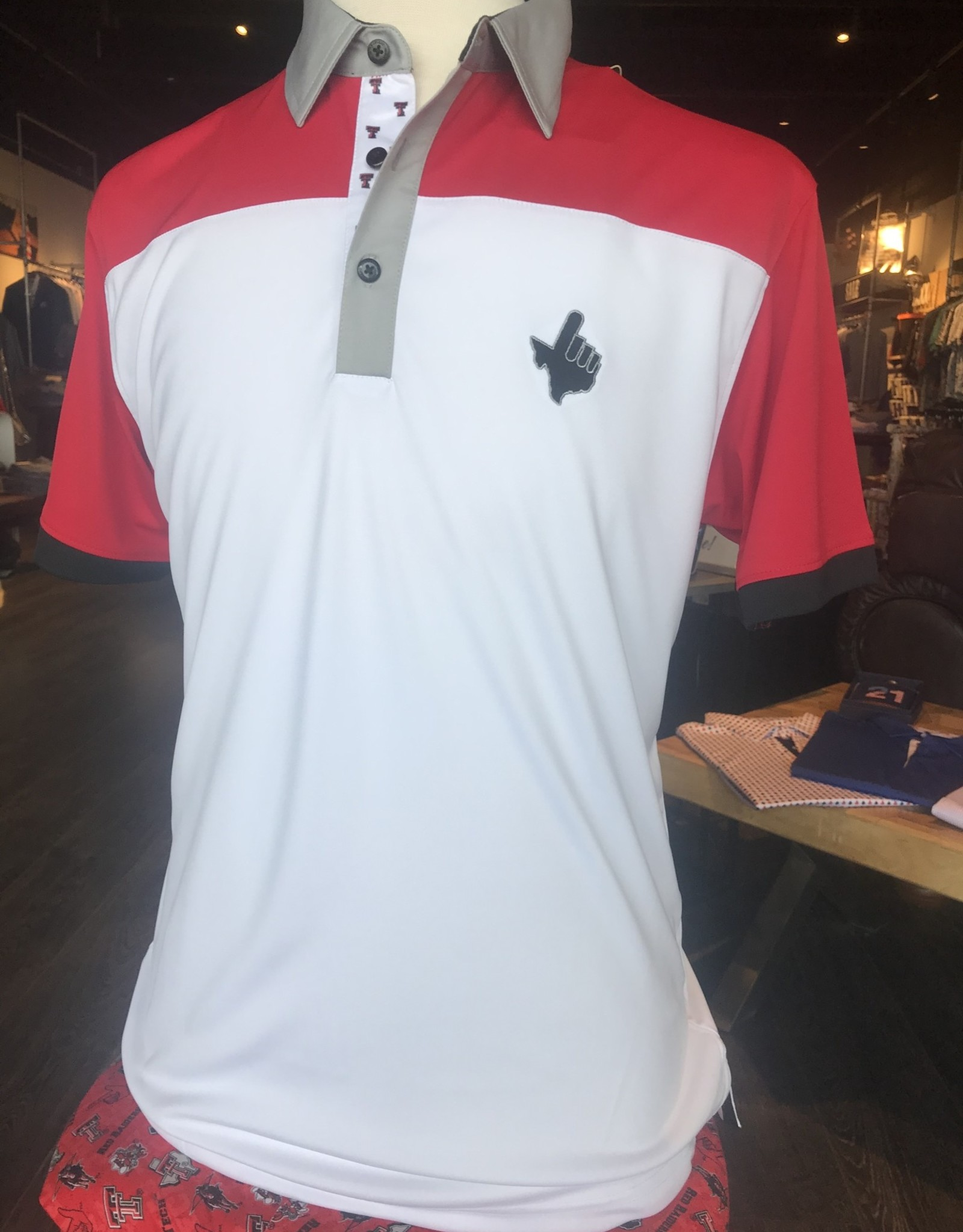 Stag GameDay White/Red Color Block Double T Trim Polo- Texas Hand