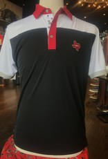Stag GameDay Black/White Color Block Double T Trim Polo- Texas State