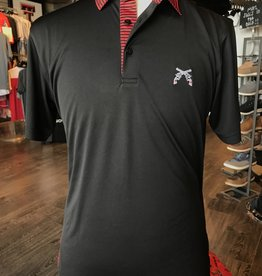 Stag GameDay Black/Red Stripe Collar Polo- Cross Guns