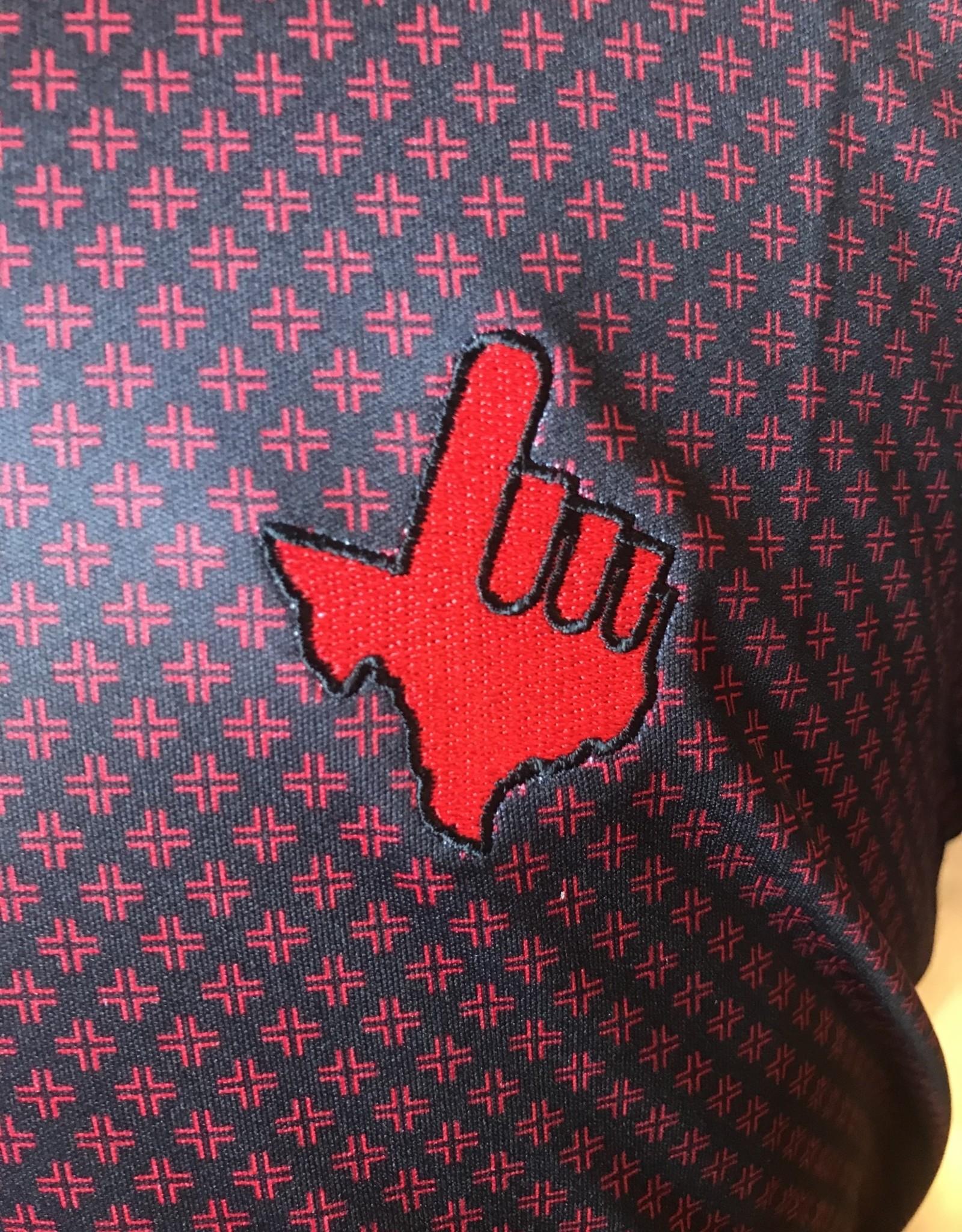 Stag GameDay Black/Red Bullseye Print Polo- Texas Hand