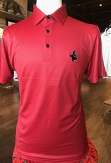 Stag GameDay Red Micro Check Polo- Texas Hand