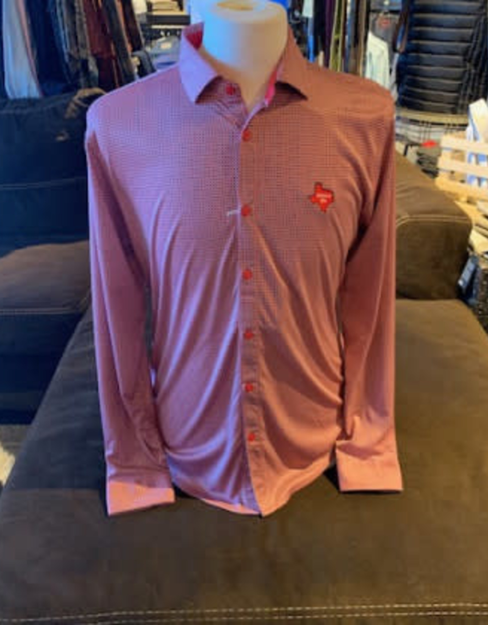 Stag GameDay L/S Red/Black/White Gingham Texas/Wreck Em