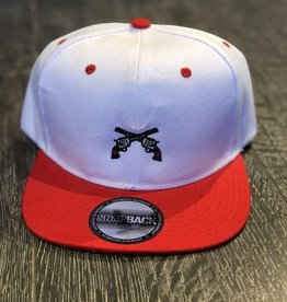 Stag GameDay White/Red Flatbill Hat Cross Guns