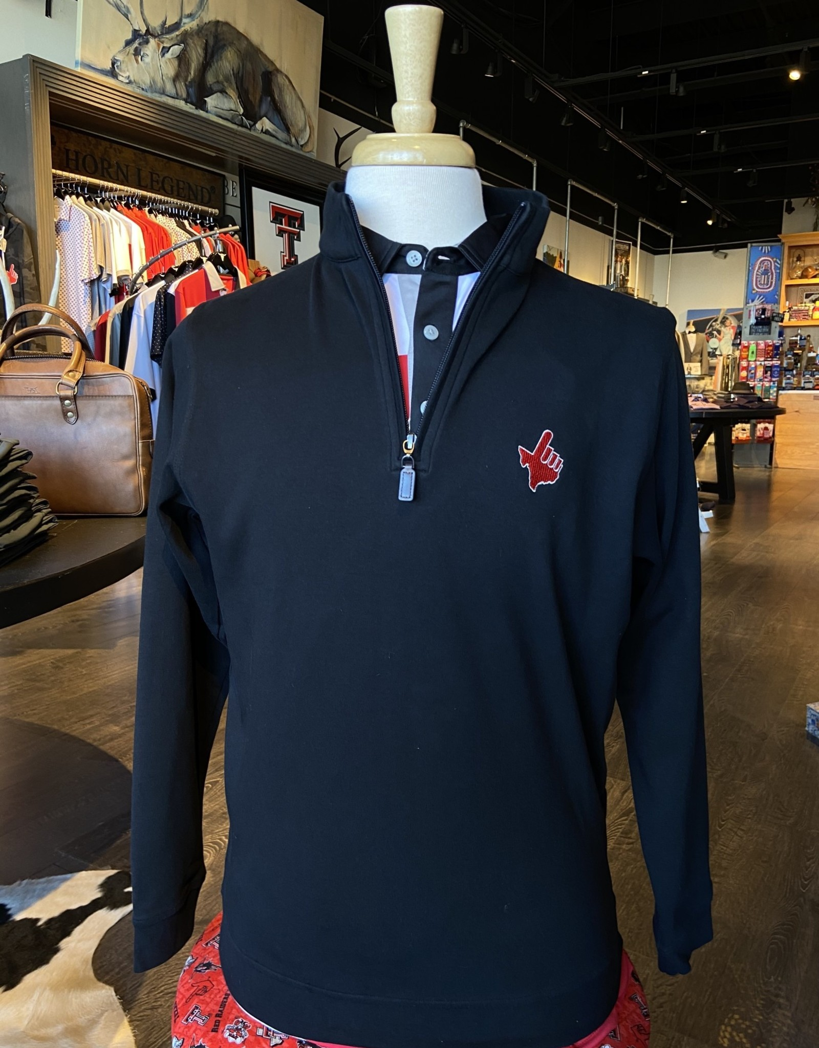 Stag GameDay Black 1/4 Zip Pullover Texas Hand/Wreck 'Em