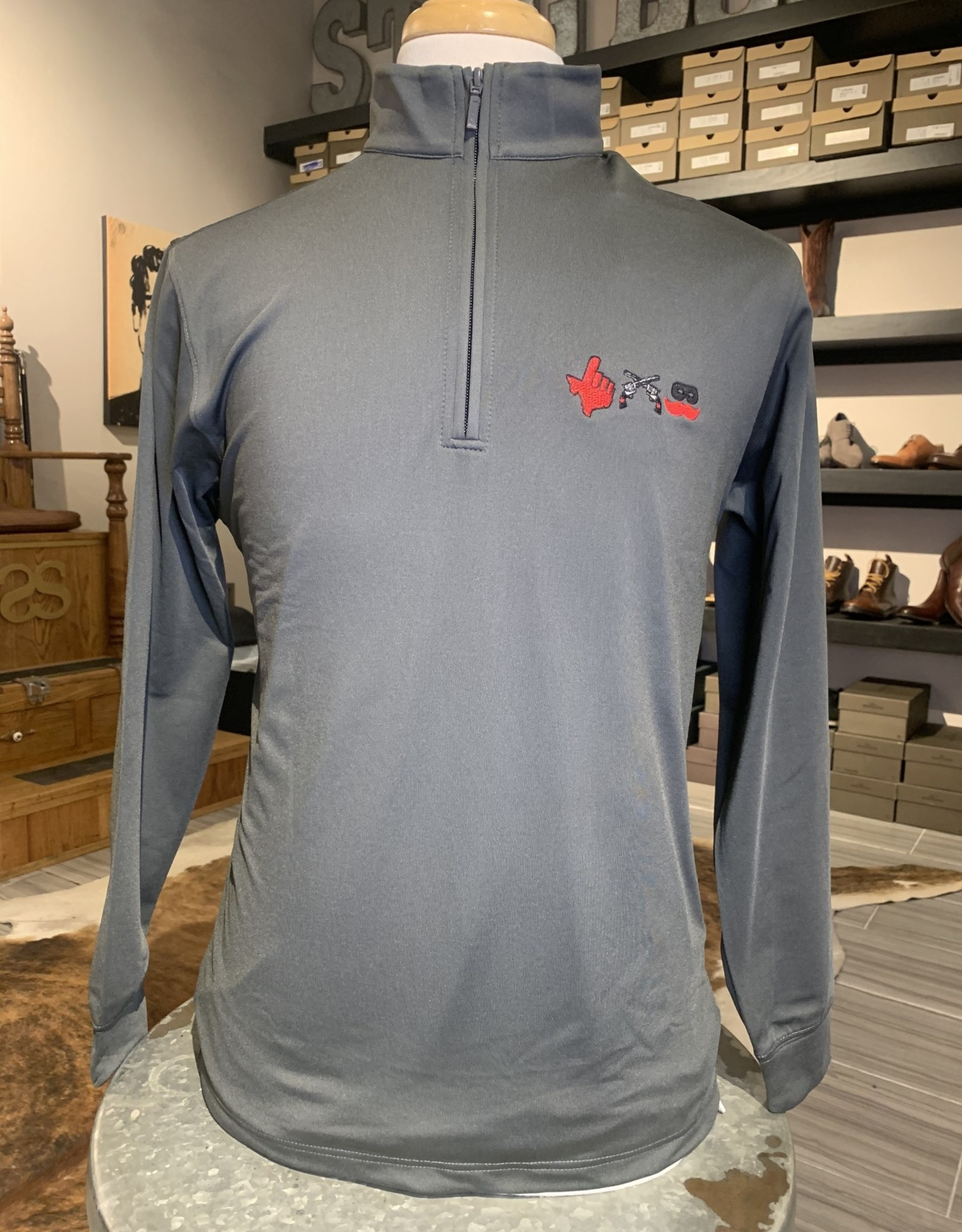 Stag GameDay Charcoal Performance 1/4 Zip 3 Logo