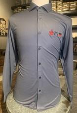 Stag GameDay Grey Herringbone Long Sleeve Button Up 3 Logo