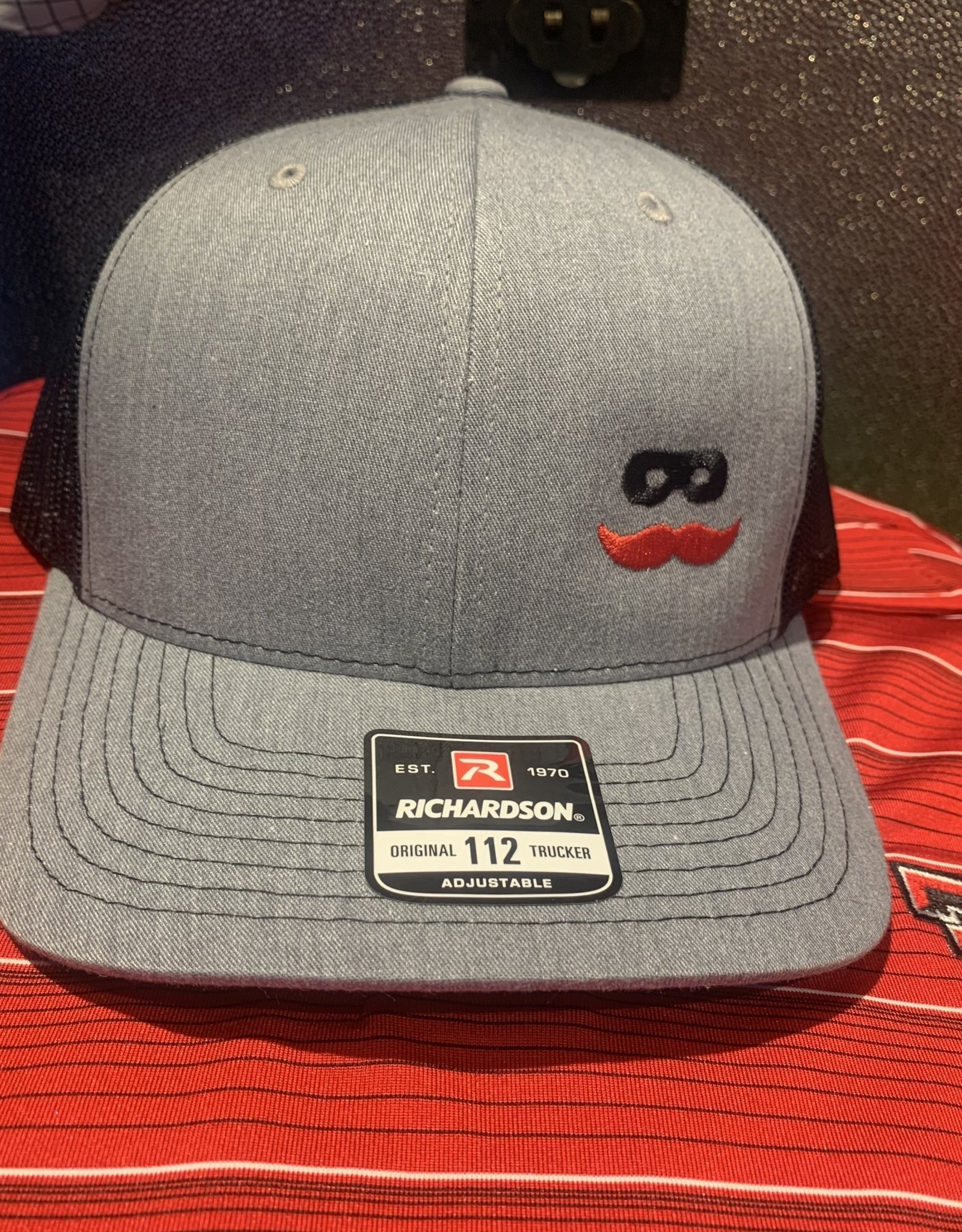 Stag GameDay Richardson 112 Trucker Hat Grey/Black Side Mustache