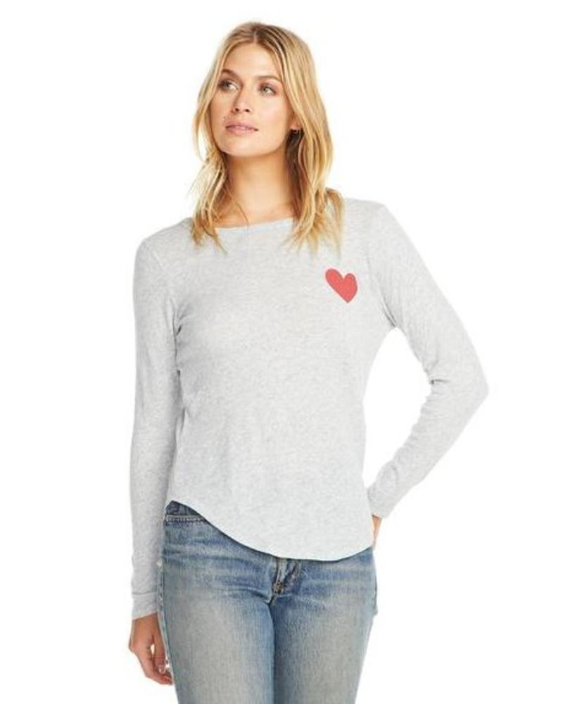 chaser chaser l/s crew neck heart tee