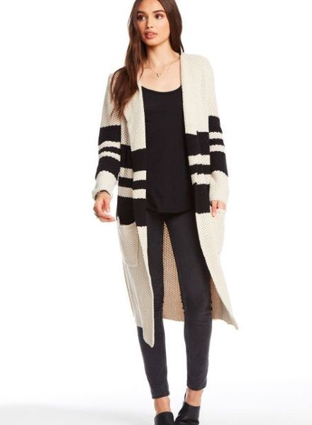 chaser striped open duster