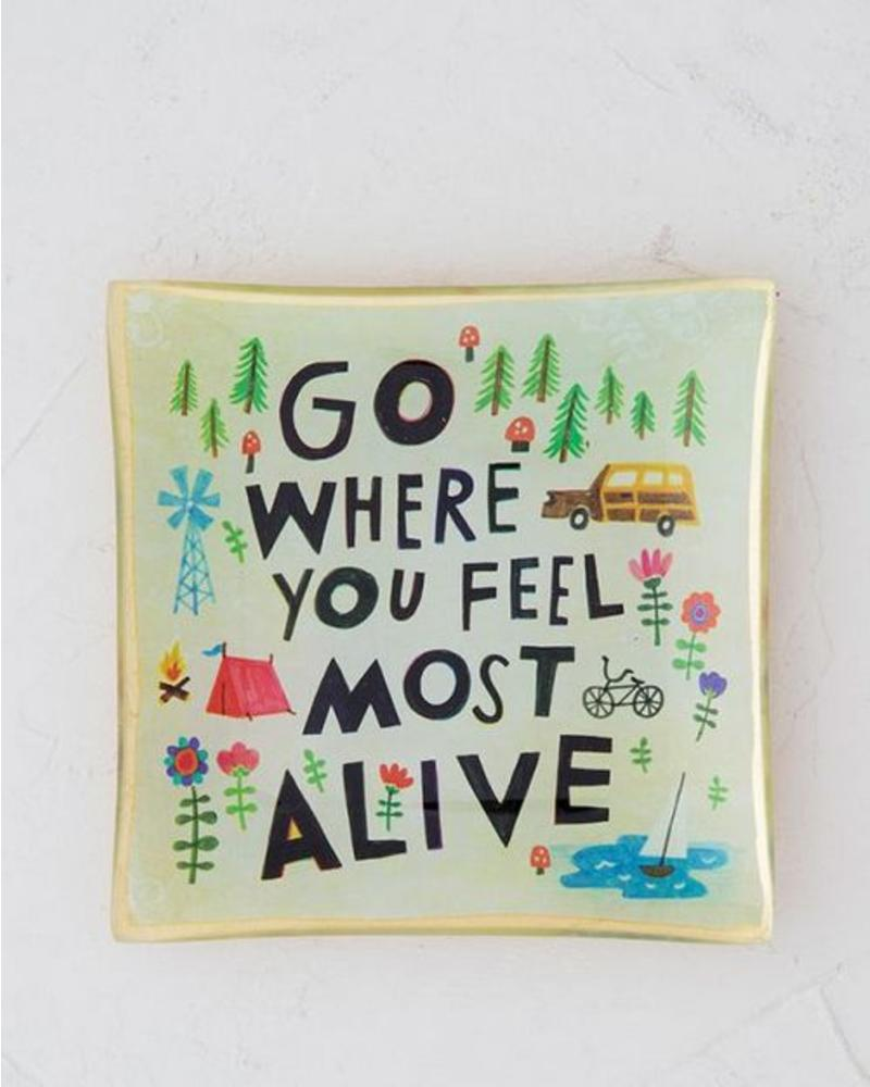 natural life natural life go where you feel glass tray