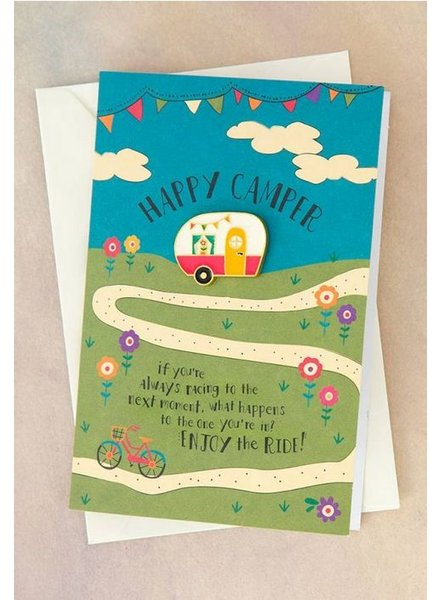 natural life happy camper pin card
