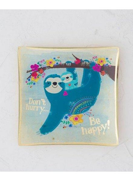 natural life sloth dont glass tray