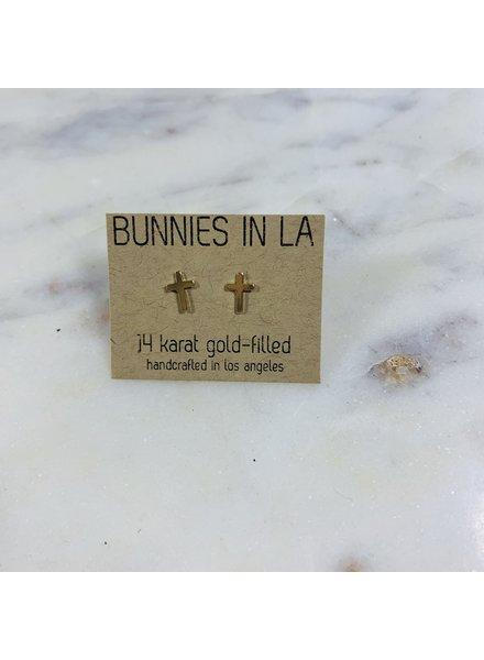 bunnies in la tiny cross earrings