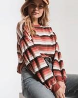 z supply rainbow stripe pullover