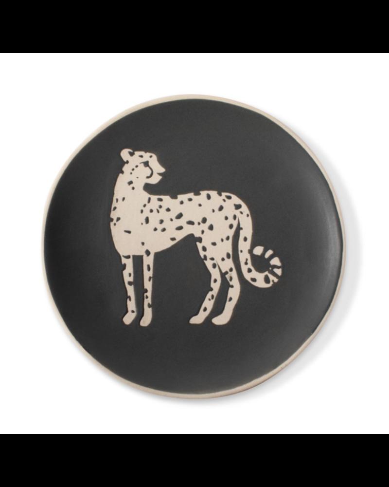 fringe studio cheetah round tray