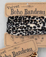 natural life boho bandeau velvet blk leopard