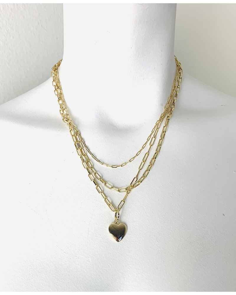 triple chain with heart necklace
