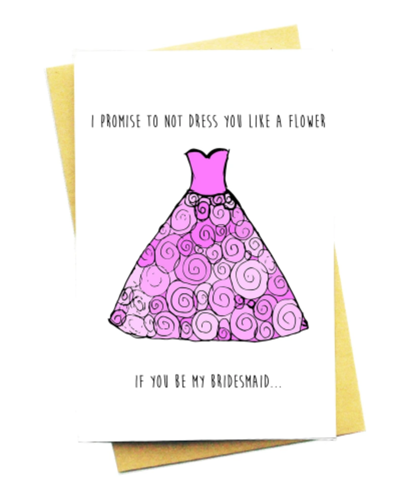 nocturnal paper flower bridesmaid card