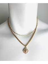 duo chain with charm necklace
