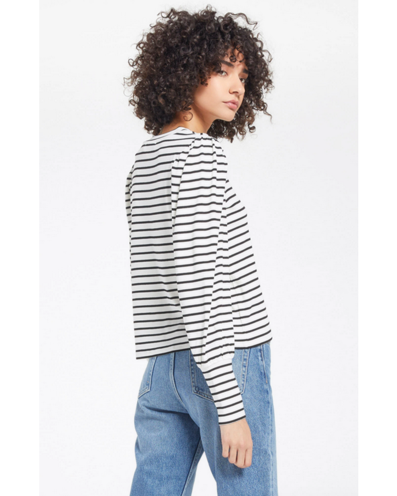 z supply z supply clemente striped puff sleeve top