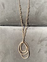 long gold oval necklace