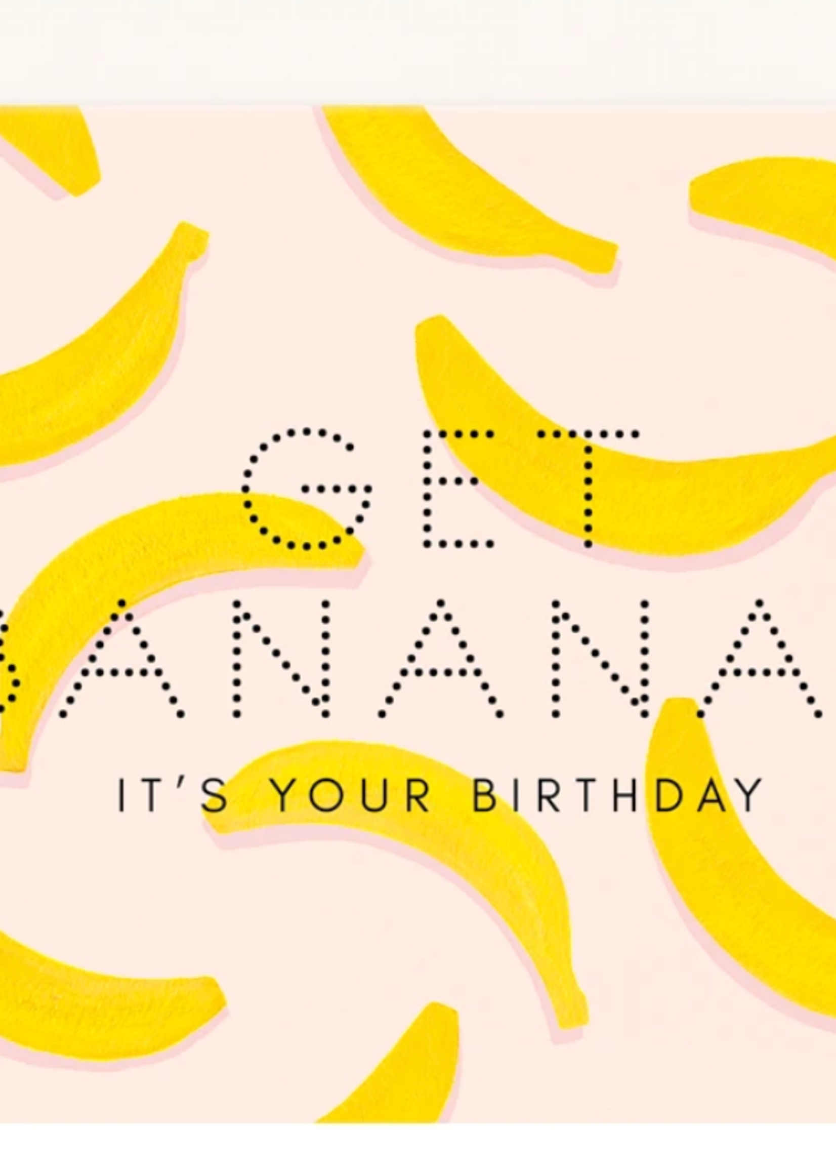girl w/ knife get bananas birthday card