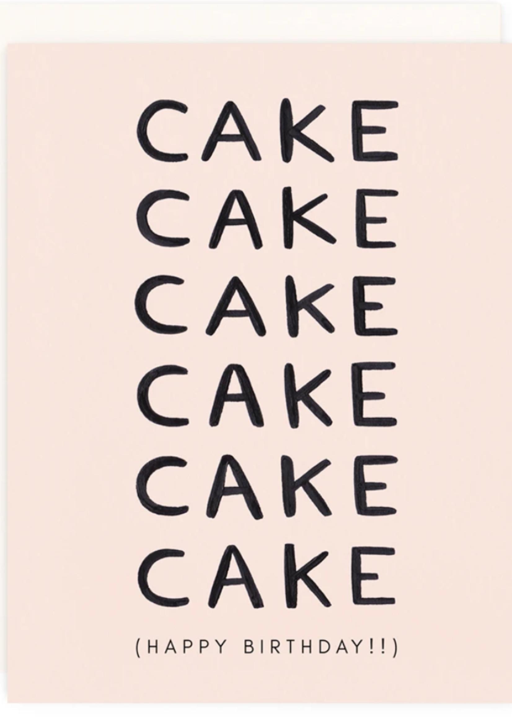 girl w/ knife cake birthday card
