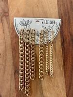 set of 6 dangling gold chain earrings
