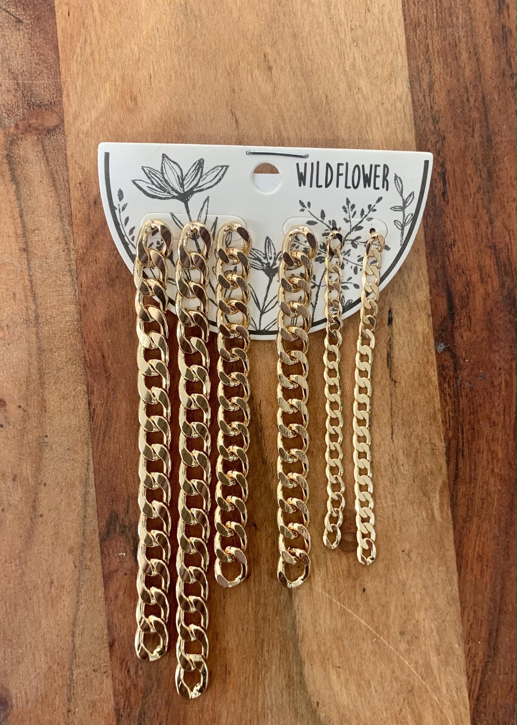 set of 6 dangling chain gold earrings