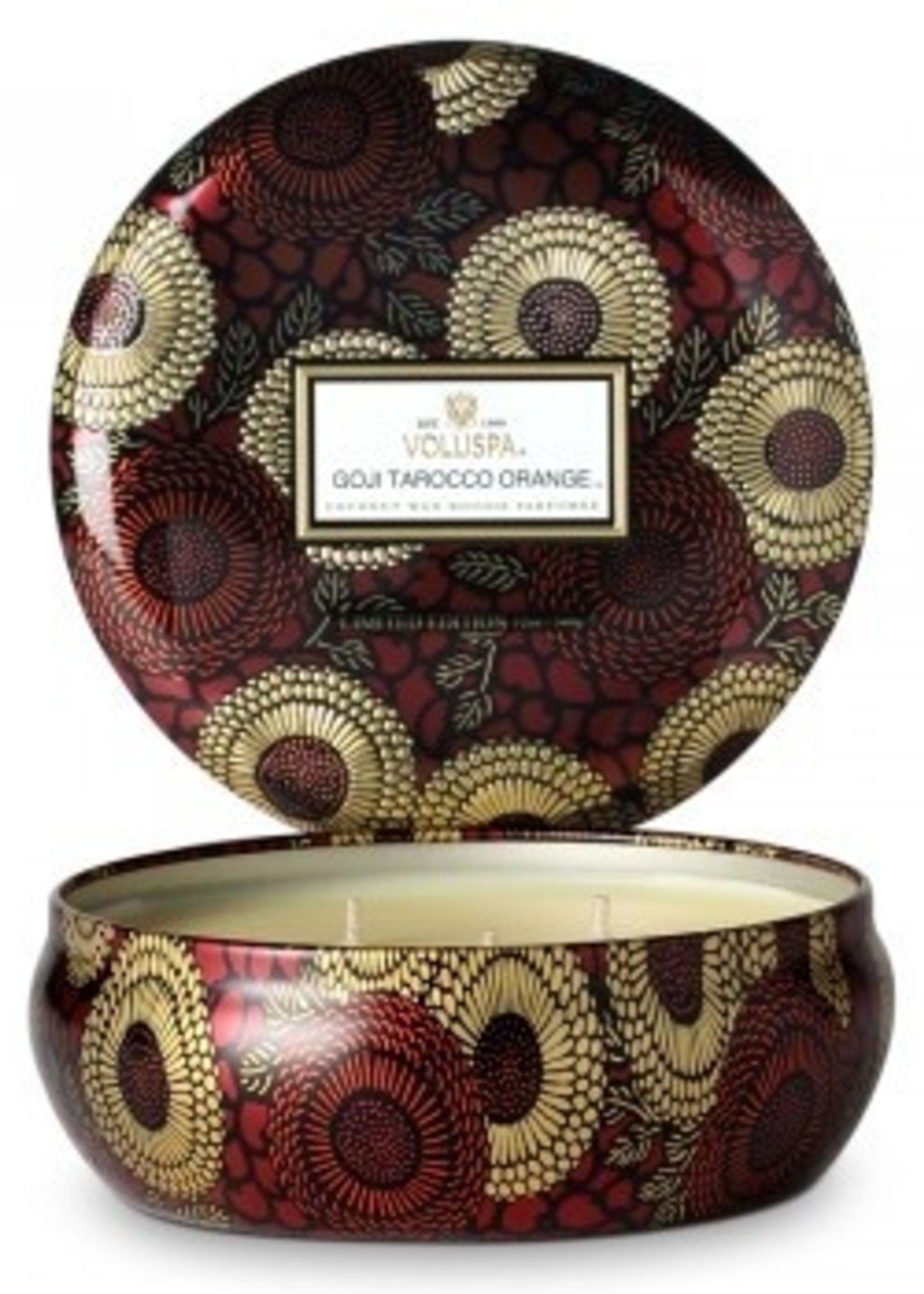 voluspa voluspa goji 3 wick tin candle