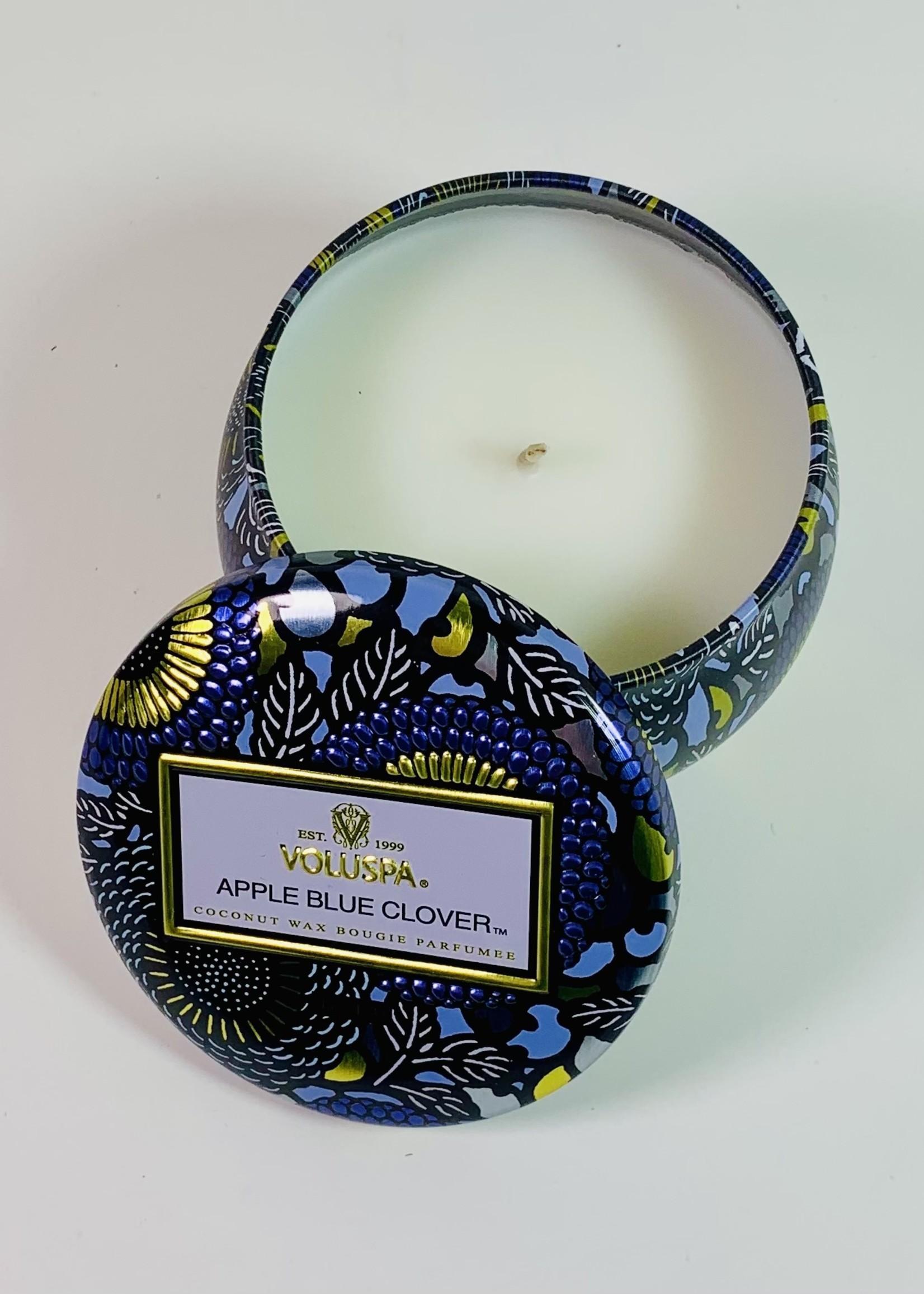 voluspa voluspa apple blue clover mini tin candle