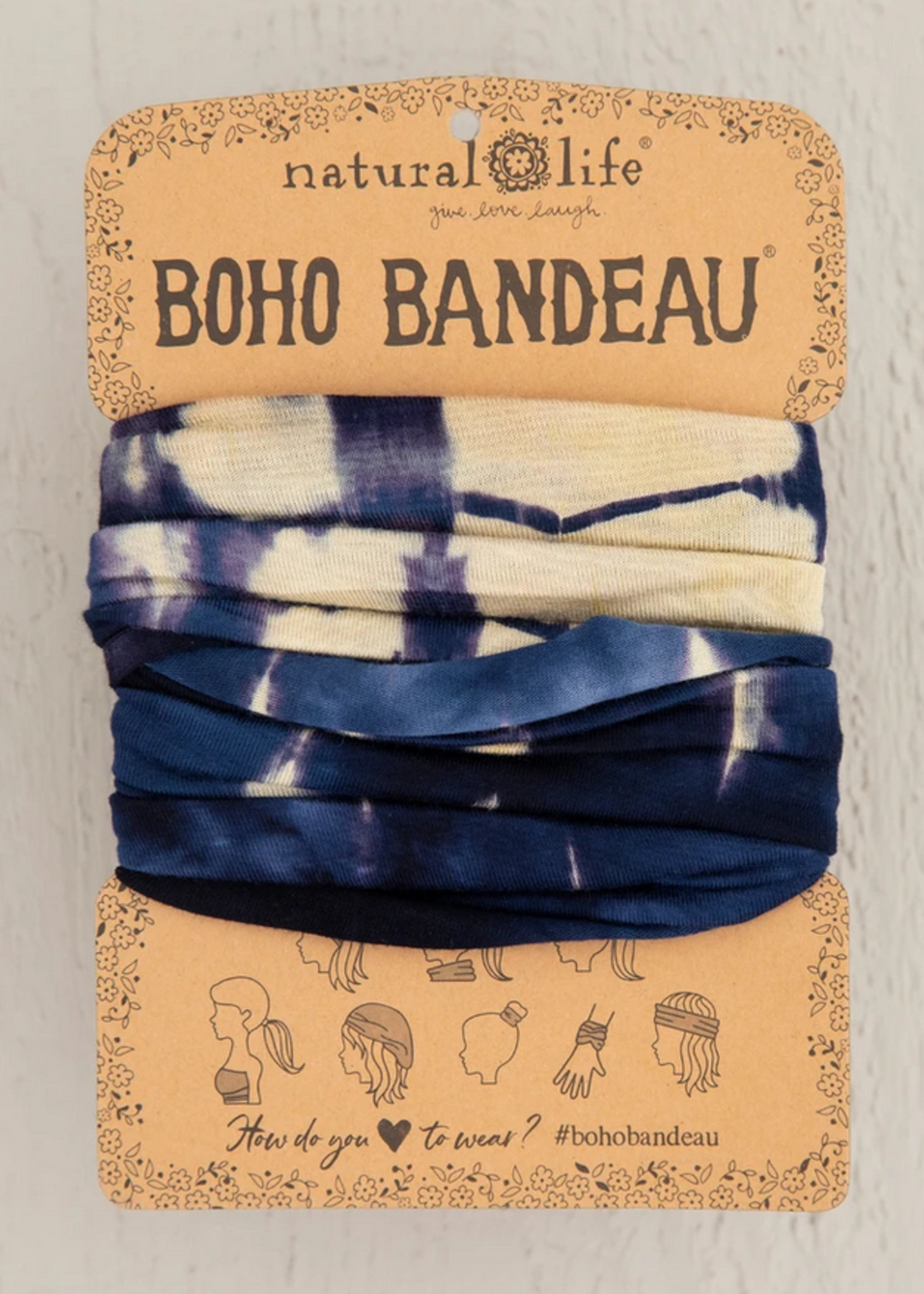 natural life tie dye cream navy boho bandeau