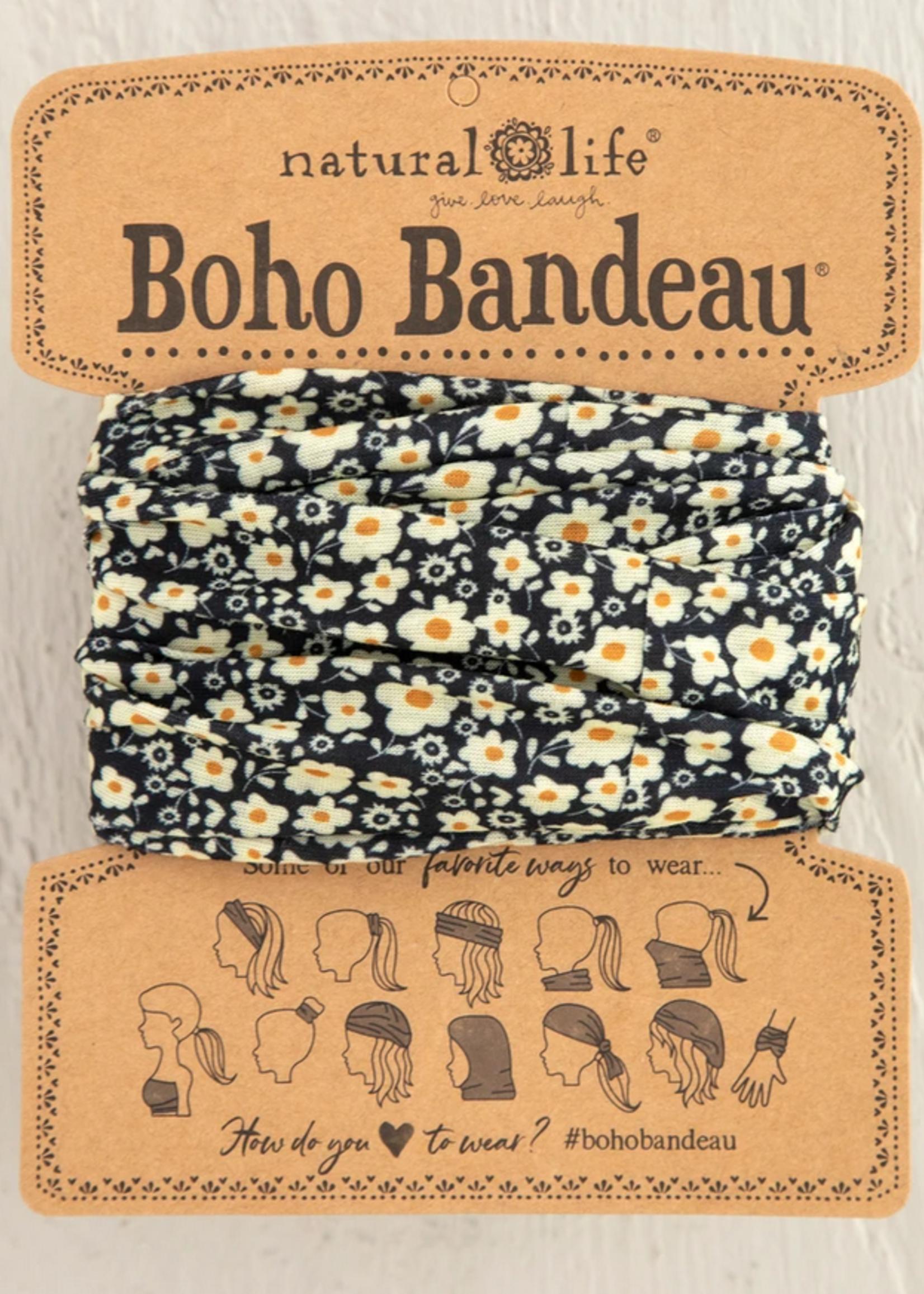 natural life black cream floral boho bandeau