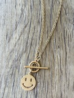 smiley face toggle necklace