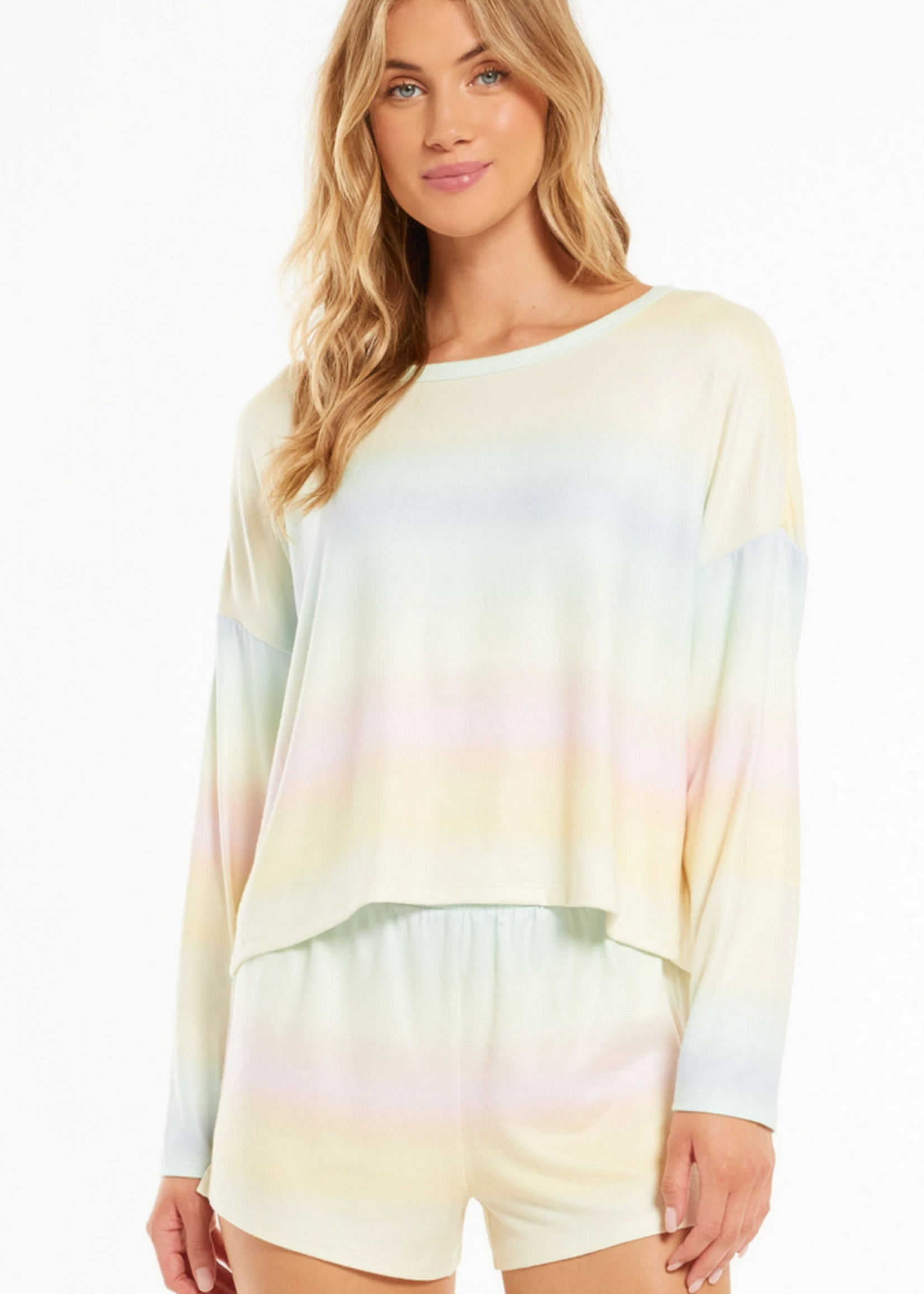 z supply z supply skylar rainbow long sleeve top