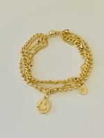 gold chain smiley face bracelet