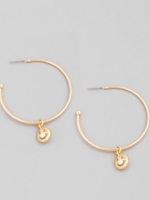hoop earrings with smiley face charm