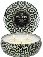voluspa french linen 3 wick tin candle
